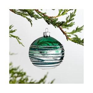 Crate&Barrel Tinsel 漸層條紋球型吊飾 深綠