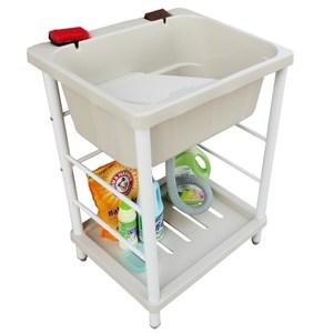 新式大容量單槽塑鋼水槽 洗衣槽 洗手台(附洗衣板)-1入