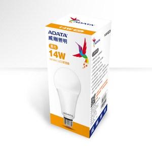 ADATA 威剛照明 14W 高效能LED球泡燈-黃光(4入)