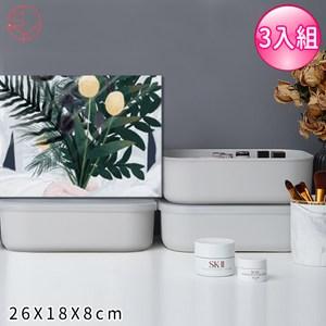 【日本霜山】無印風手提式多功能收納盒附蓋3入組-灰色(S)26X18X