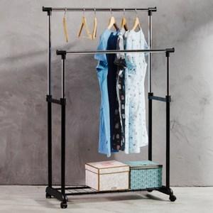 【晾曬專家】MIT 馬卡龍雙桿附置物底網雙桿伸縮曬衣架(外銷好品質)純黑