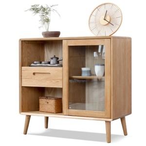 原木日式宇治白橡木實木玻璃門單抽置物櫃w2011