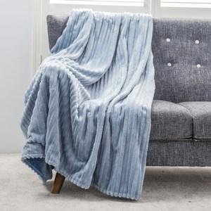 可機洗絲絨雙面毯 天青藍 180x150cm