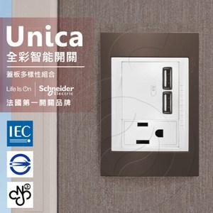 法國Schneider Unica Plus雙USB/單插座_可可亞