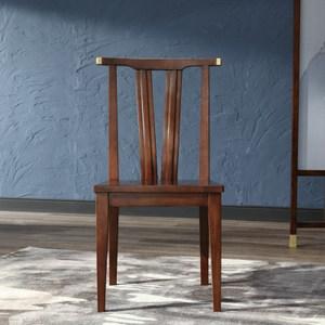 林氏木業新中式實木餐椅LS047餐椅 (兩入組) -胡桃色