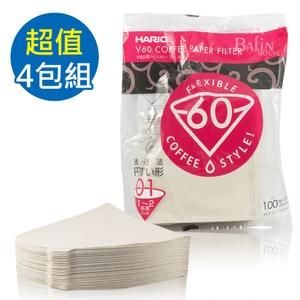 【HARIO】V60 日本製 2人份白色濾紙 400張