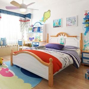 林氏木業地中海系列實木單人加大4尺兒童床組 DF1A