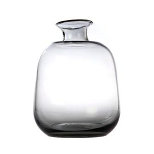 窄口圓弧透明小花器灰色15cm
