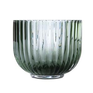 直紋透明小花器墨綠9cm