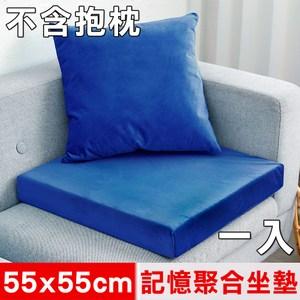 【凱蕾絲帝】記憶聚合加厚絨布坐墊/實木椅墊55x55cm-深藍(一入)