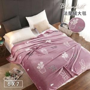 【BELLE VIE】仙人掌粉-保暖金貂法蘭絨(180X210cm)(180x210cm-