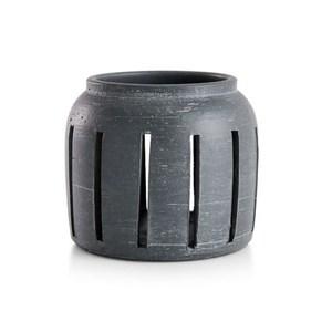 Crate&Barrel Porto 陶瓷燭臺 鐵灰 S
