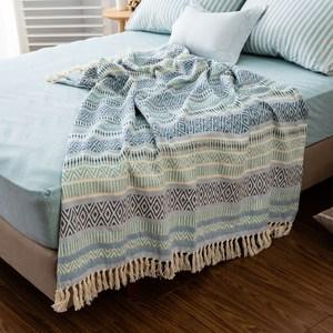 Hoi印度手工緹花披毯125x150cm藍