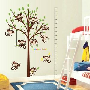 【Loviisa 猴子與身高尺】無痕壁貼 壁紙