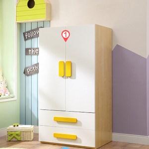 林氏木業簡約原木色雙門對開兒童衣櫃DE1D