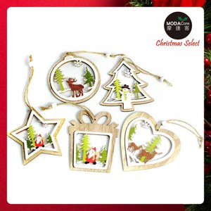 摩達客木質彩繪圖案風格聖誕吊飾 五入組
