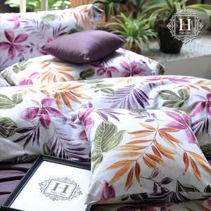 【HOYACASA】絢麗葉語雙人四件式300織長纖細棉被套床包組
