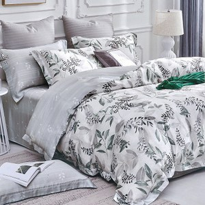 【Indian】100%純天絲雙人加大七件式床罩組-韻葉6*6.2