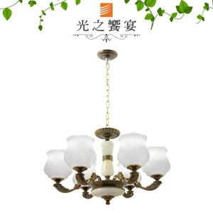 【光之饗宴】黑金古銅/ 玉石6IC吊燈
